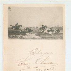 Postales: POSTAL CIRCULADA EN 1903. ESCENA TAURINA. Lote 46788997