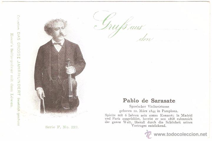 PABLO DE SARASATE SPANISCHER VIOLINVIRTUOSE COLLECTION DAS GROSSE JAHRHUNDERT (Postales - Postales Temáticas - Arte)