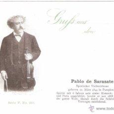 Postales: PABLO DE SARASATE SPANISCHER VIOLINVIRTUOSE COLLECTION DAS GROSSE JAHRHUNDERT. Lote 31798866