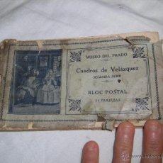 Postales: MUSEO DEL PRADO CUADROS DE VELAZQUEZ SEGUNDA SERIE BLOC POSTAL CON 24 TARJETAS FALTAN 3 DEFECTOS LE. Lote 53811292