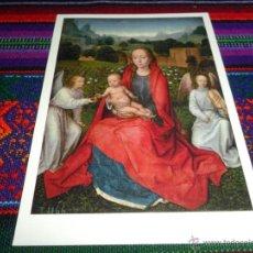 Postales: LA VIRGEN Y EL NIÑO ENTRO DOS ÁNGELES DE HANS MEMLING. MUSEO DEL PRADO MADRID. SIN USO.. Lote 54508224