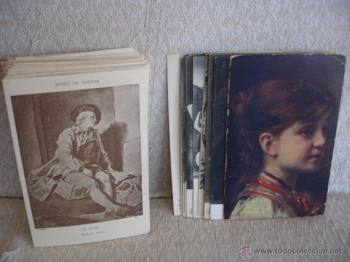 Postales: ESTUCHE EDITORIAL CON APROX. 95 POSTALES DE OBRAS EXPUESTAS EN EL MUSEO DE EL LOUVRE 1910 ca - Foto 2 - 54693494