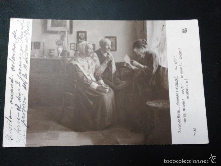 POSTAL DE LA PINTURA DE GEORGES H DILLY. SALON DE PARIS. CIRCULADA 1927. DE BARNA A PIEROLA (Postales - Postales Temáticas - Arte)