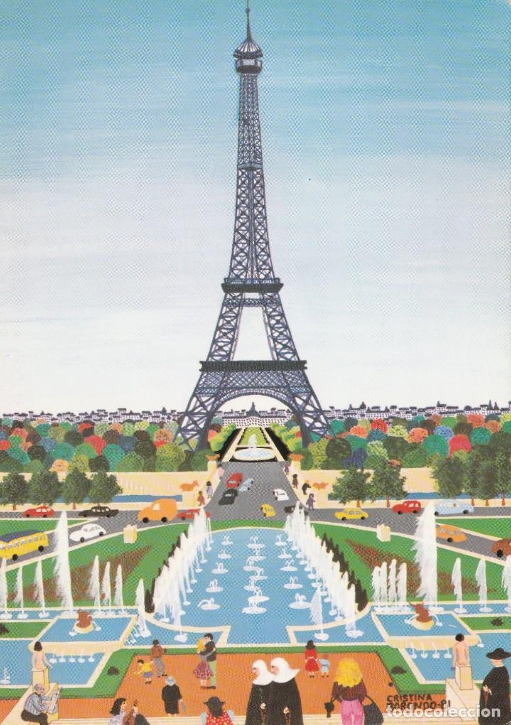 PINTURA NAIF - CRISTINA BORONDO - PARIS - NOTRE DAME - COLCCION PERLA 82 - PAGSA -1981 - NUEVA (Postales - Postales Temáticas - Arte)