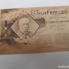 Postales: EL TREN EXPRESO POEMA EN TRES CANTOS D. RAMÓN DE CAMPOAMOR 1904. Lote 93918825