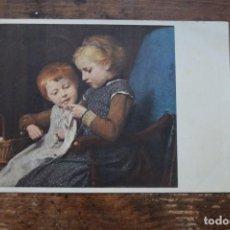 Postales: ALBERT ANKER, LECCION DE TRICOTAGE, AYUDA A LA LUCHA ANTITUBERCULOSIS, SUIZA, CIRCULADA, 1960. Lote 96296291