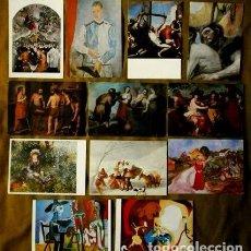 Postales: LOTE DE 12 POSTALES REPRODUCCION OBRAS DE ARTE VARIAS EPOCAS-GOYA/GRECO/RENOIR/PICASSO/MIRO/MUNCH. Lote 99105955