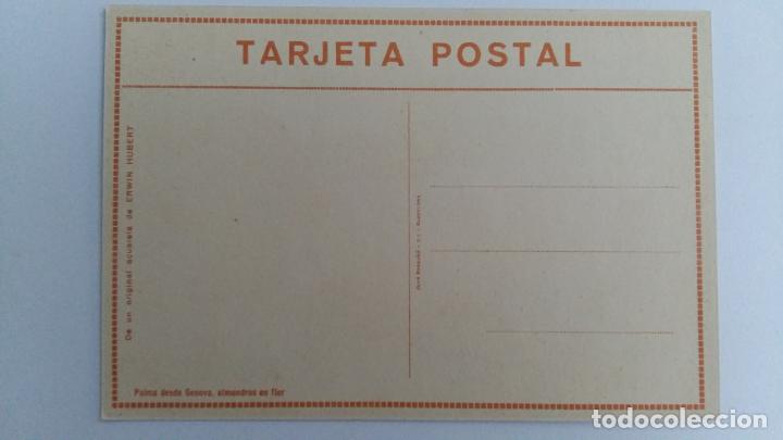 Postales: TARJETA POSTAL. DE UN ORIGINAL ACUARELA ERWIN HUBERT. PALMA DESDE GENOVA ALMENDROS EN FLOR - Foto 2 - 104824935
