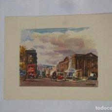 Postales: POSTAL ACUARELA DE F. LLOVERAS. BARCELONA. PLAZA DE PALACIO. TDKP1. Lote 114006619