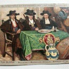 Postales: EL OFERTORIO EN EXTREMADURA. CARLOS VÁZQUEZ. PUBLICIDAD LA GLORIA (BARCELONA) LIT.S. DURÁ (VALENCIA). Lote 116126811