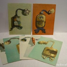Postales: LOTE DE 7 LÁMINAS INRO Y NETSUKE - PUBLICIDAD DE NESTLÉ 1959 - 1960. Lote 116774795