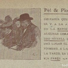 Postales: POSTAL PÈL & PLOMA, APERTURA EXPOSICIÓN ISIDRO NONELL, GALERIA PARÉS. TIP. L'AVENÇ, 1901.. Lote 117276899