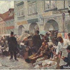Postales: POSTAL CUADRO EL MERCADO DE PRAGA SELLADA Y ENVIADA DESDE BAQUIO (BAKIO) A PEDERNALES EN 1914. Lote 119197275