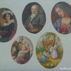 Postales: LOTE DE 5 POSTALES DE ARTE RECORTADAS EN ÓVALO : GOYA, ETC . AÑOS 60. Lote 124211791