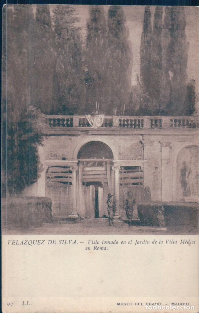 POSTAL VELAZQUEZ DE SILVA - VISTA TOMADA EN EL JARDIN DE LA VILLA MEDICI EN ROMA - LL - MUSEO PRADO (Postales - Postales Temáticas - Arte)