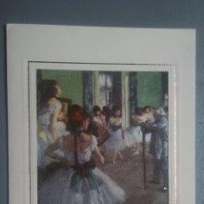 Postales: TARJETA DIPTICO ARTE EDGAR DEGAS LA CLASE DE DANSE FOTOGRAFÍA EN TELA. Lote 126725254