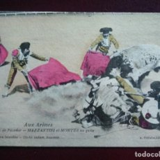 Postales: CHUTE DE PICADOR. MAZZANTINI Y MONTES AL QUITE. AUX ARENES.. Lote 128665867