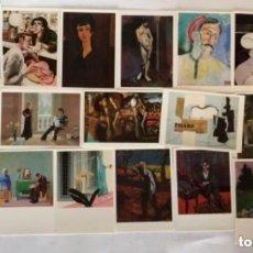 Postales: LOTE DE 19 POSTALES DE LA COLECCIÓN DE LA TATE GALLERY, PICASSO, MATISSE, BACON, BURRA, CHAGALL,DALI. Lote 128981035