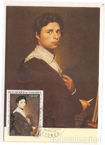 DAHOMEY & POSTAL MAXIMO , INGRES, PINTURA AUTORRETRATO, 1967 (53) (Postales - Postales Temáticas - Arte)
