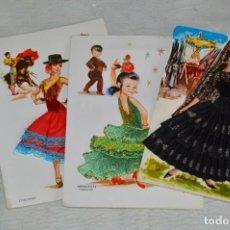 Postales: LOTE DE 3 POSTALES BORDADAS - TRAJES FLAMENCOS / SEVILLANAS / MANTILLA - SIN CIRCULAR - ENVÍO 24H. Lote 134652010