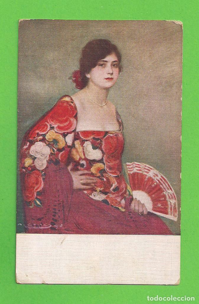 POSTAL - LA DEL MANTÓN ROJO, RAMÓN CASAS - SIN CIRCULAR. (Postales - Postales Temáticas - Arte)