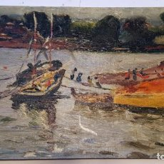 Postales: POSTCARD OIL PAINTED. BOAT. ANTIQUE AND RARE. UNUSED!!. Lote 146254386