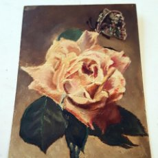 Postales: POSTCARD OIL PAINTED. ROSE. ANTIQUE AND RARE. UNUSED!!. Lote 146254686