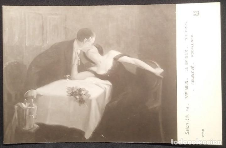 Postales: Salon 1914 Sam Grun Le Baiser The Kiss 2798 Paris - Foto 3 - 148007174