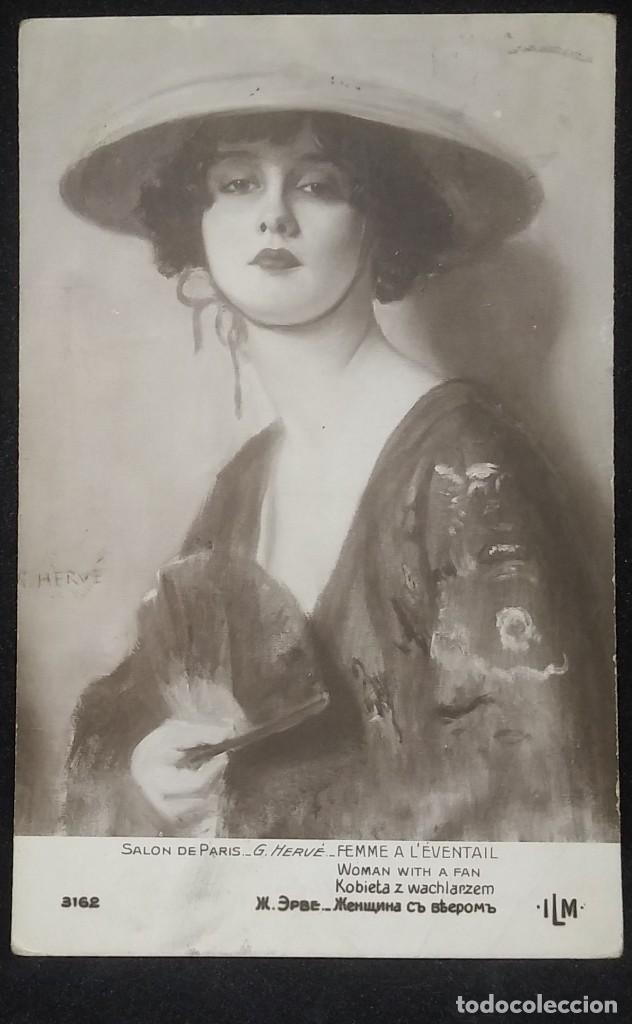 1921 Salón de París 3162 G. Hervé Femme L'Éventail Circulada - 148009002