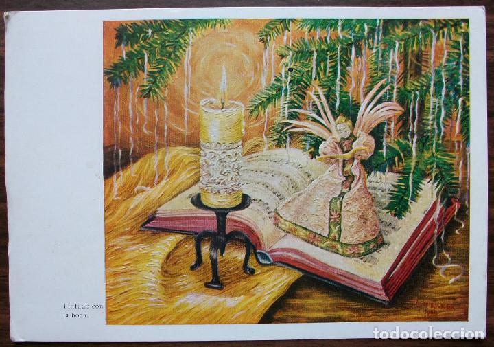 POSTAL PINTADO CON LA BOCA POR I.SCHRICKER. 1961 (Postales - Postales Temáticas - Arte)