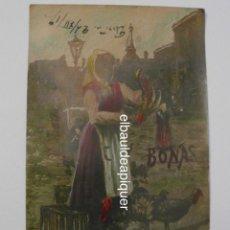 Postales: REPRODUCCION DE PINTURA DE MUJER EN MERCADO VENDIENDO PAVOS. BONAS PASCUAS. 1917. CIRCULADA. CCTT. Lote 149945070