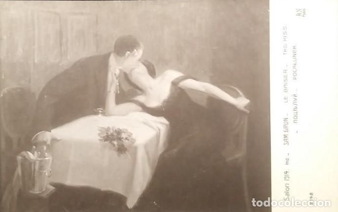 SALON 1914 SAM GRUN LE BAISER THE KISS 2798 PARIS (Postales - Postales Temáticas - Arte)