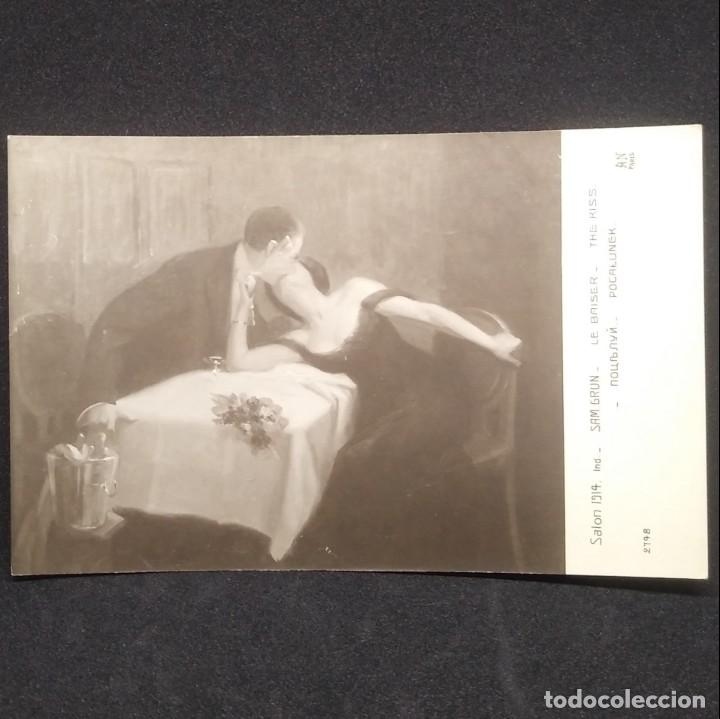 Postales: Salon 1914 Sam Grun Le Baiser The Kiss 2798 Paris - Foto 2 - 148007174