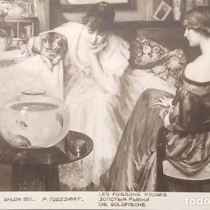 Salon 1911 F. Toussaint Les poissons rouges 931 París Escrita 16/6/911