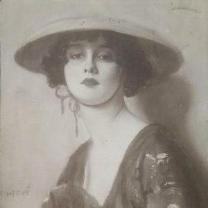 1921 Salón de París 3162 G. Hervé Femme L'Éventail Circulada