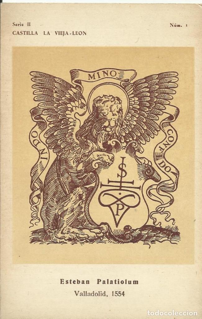 CASTILLA LA VIEJA-LEÓN. ESTEBAN PALATIOLUM. VALLADOLID 1554 FERIA DEL LIBRO 1944 MARCAS DE LIBREROS (Postales - Postales Temáticas - Arte)