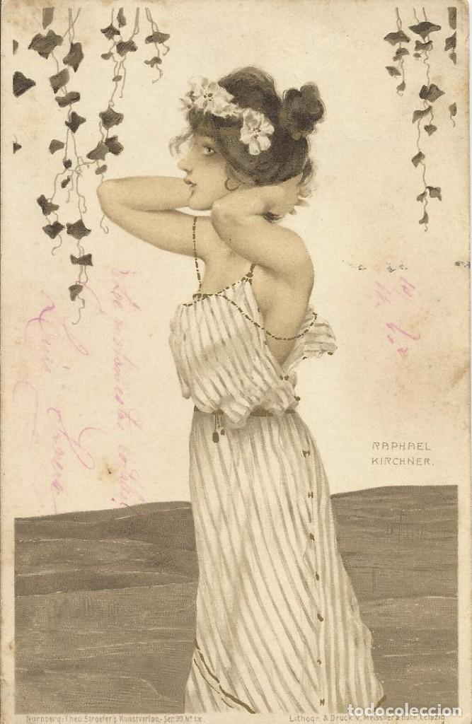 RAPHAEL KIRCHNER. DAMA. CARTE POSTALE. ILUSTRACIÓN MODERNISTA. 14X9 CM. SIN CIRCULAR. 1901. (Postales - Postales Temáticas - Arte)