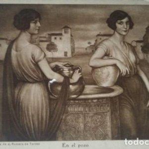 En el pozo. Postal. Obra de Julio Romero de Torres (Córdoba 1874-1930)