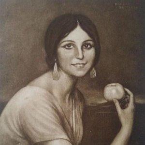 Angelita Bretón. Postal. Obra de Julio Romero de Torres (Córdoba 1874-1930)