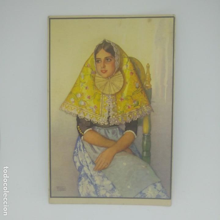 Postales: Erwin Hubert. Margalida, en traje antiguo de fiesta. Postal reproducción del original en acuarela. - Foto 2 - 154137946