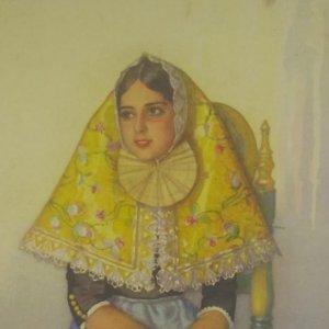 Erwin Hubert. Margalida, en traje antiguo de fiesta. Postal reproducción del original en acuarela.