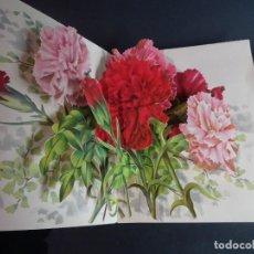 Postales: ANTIGUA POSTAL DESPLEGABLE TROQUELADA FLORES, VER FOTOS. Lote 155109186