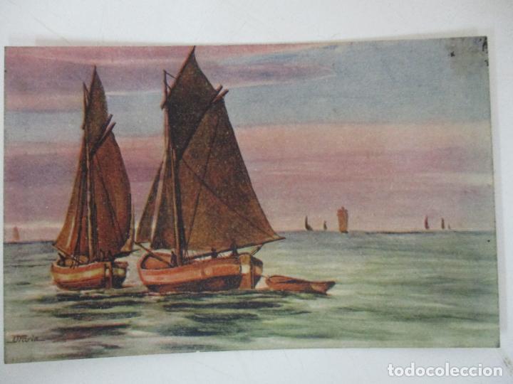 POSTAL DEL CUADRO - BARCAS EN EL MAR - D. FURIA - ITALIA - AÑO 1925 (Postales - Postales Temáticas - Arte)
