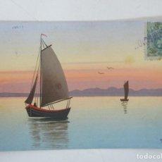Postales: POSTAL DEL CUADRO - BARCAS EN EL MAR - TORELLÀ - CIRCULADA - SELLO CON RECLAMACIÓN - AÑO 1915. Lote 155729770