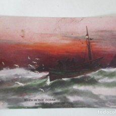 Postales: POSTAL DEL CUADRO - BARCAS EN EL MAR - WHEN IN THE OCEAN SINKS THE ORB OF DAY - AÑO 1912. Lote 155730230