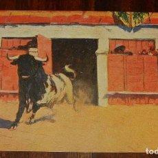 Postales: MARIANO BERTUCHI, TOROS, EDIT. N. COLL. SALIETI Nº 806 SALIDA DEL CHIQUERO, SIN CIRCULAR. Lote 156820930