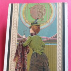 Postales: LA SUEDOISE (JOVEN SUECA). PRECIOSA TARJETA POSTAL ILUSTRADA TROQUELADA EN COLOR. ART NOUVEAU. Lote 164722522