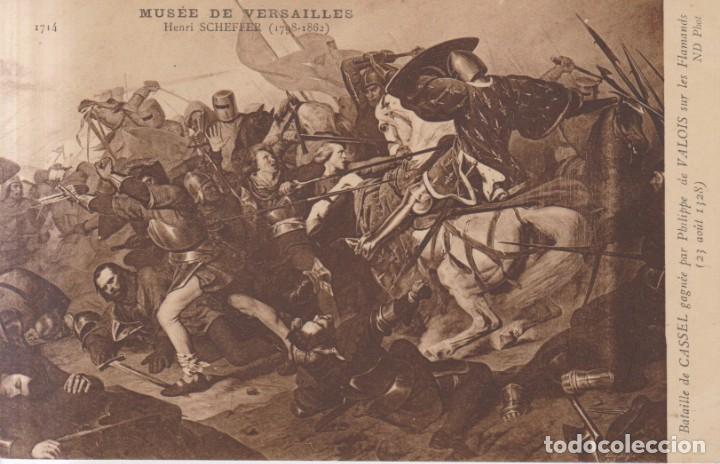 HENRI SCHEFFER PINTURA DE LA BATALLA DE CASSEL POSTAL NO CIRCULADA (Postales - Postales Temáticas - Arte)