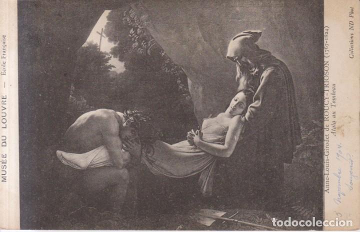 GIRODET TRIOSON PINTURA ATALA LLEVADA A LA TUMBA 1904 POSTAL CIRCULADA (Postales - Postales Temáticas - Arte)