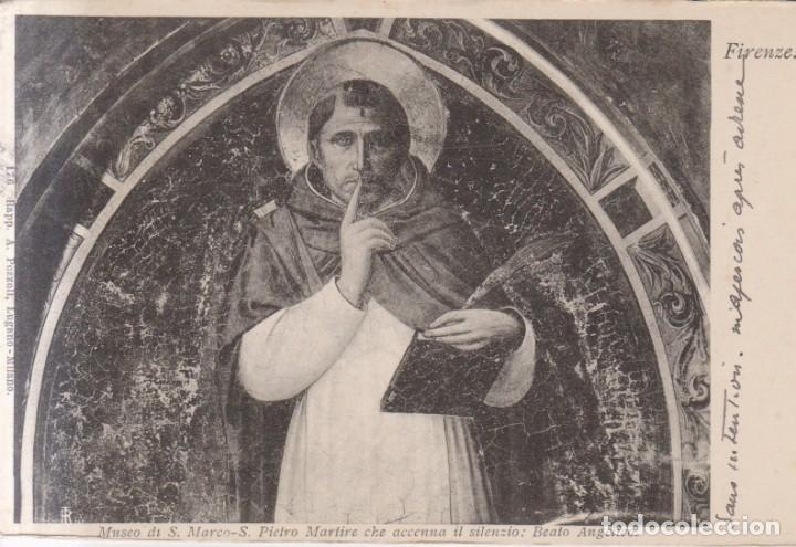 BEATO ANGELICO PINTURA SAN PEDRO MARTIR 1908 POSTAL CIRCULADA (Postales - Postales Temáticas - Arte)